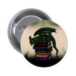 Dragon on Books 6 Cm Round Badge