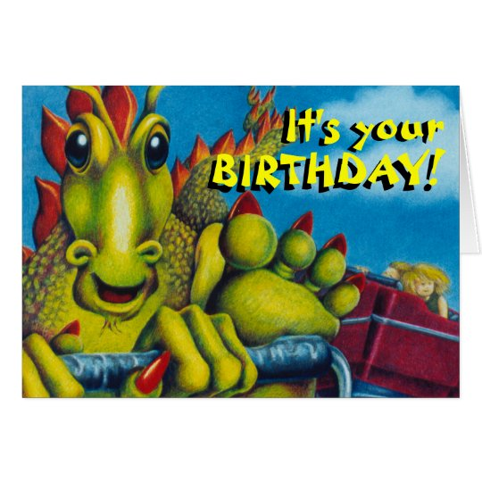 dragon on roller coaster, It's your, BIRTHDAY!,... Card
