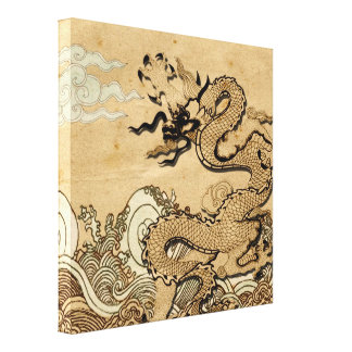 Dragon on the Water vs 2 Stretched Canvas Print