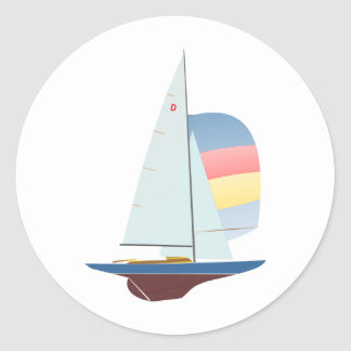 Dragon One Design Racing Sailboat Round Sticker