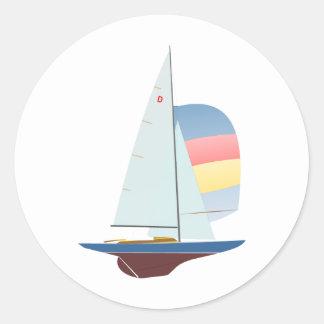Dragon One Design Racing Sailboat Round Sticker
