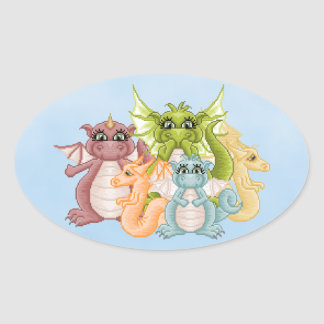 Dragon Pals Pixel Art Oval Sticker