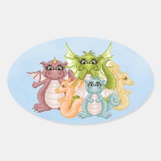 Dragon Pals Pixel Art Oval Sticker