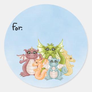 Dragon Pals Pixel Art Round Sticker