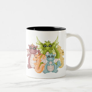 Dragon Pals Pixel Art Two-Tone Coffee Mug