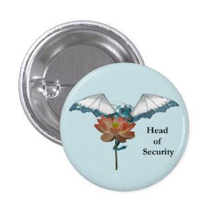Dragon Peeks Around Flower 3 Cm Round Badge