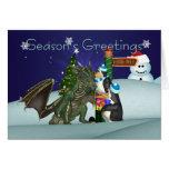 Dragon & Penguin Christmas Card, Season's Greeting
