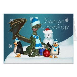Dragon & Penguin Christmas Card, Season's Greeting Card