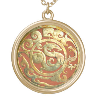 Dragon-Phoenix Chinese Artifact Golden Pendant