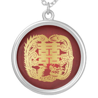 Dragon & Phoenix - Double Happiness Symbol Round Pendant Necklace