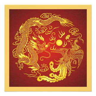 Dragon Phoenix Red Gold Chinese Wedding Invitation