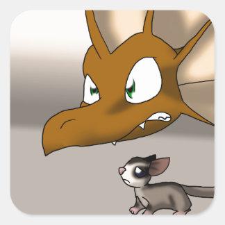 Dragon Protecting Sugar Glider Square Stickers