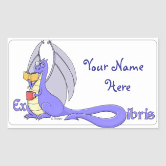 Dragon Reading a Book ex libris / bookplate Rectangular Sticker