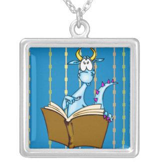 Dragon Reading Book Square Pendant Necklace