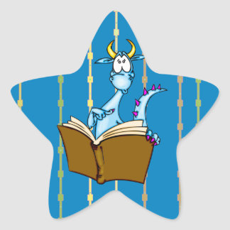 Dragon Reading Book Star Sticker