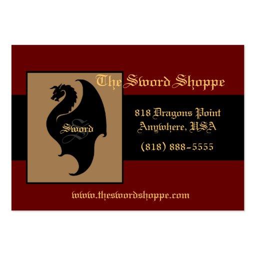 Dragon Red & Black Monogram Business Card