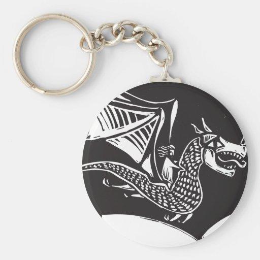 Dragon Rider Basic Round Button Key Ring