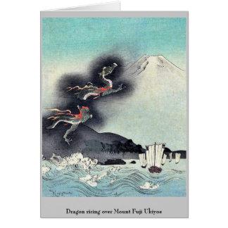 Dragon rising over Mount Fuji Ukiyoe Greeting Cards
