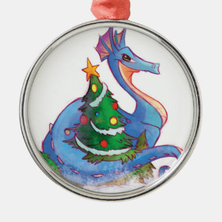 Dragon Round the Christmas Tree Silver-Colored Round Decoration