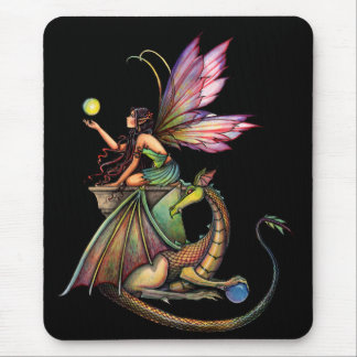 Dragon s Orbs Fairy and Dragon by Molly Harrison Mouse Pads