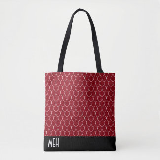 Dragon Scale Red Monogram Tote Bag