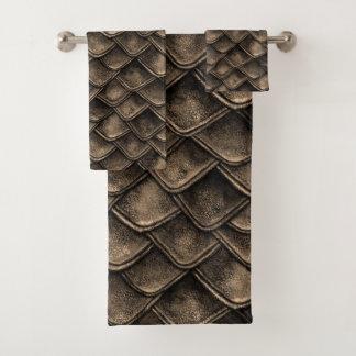 Dragon Scales - Gray, Brown Bath Towel Set