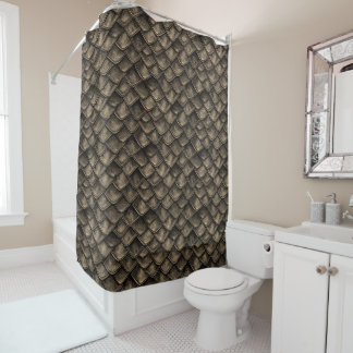 Dragon Scales - Gray, Brown Shower Curtain