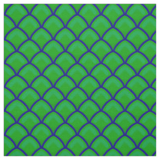 Dragon Scales Green and Blue Scallop Pattern Fabric
