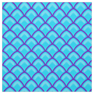 Dragon Scales Ice Blue and Purple Scallop Pattern Fabric