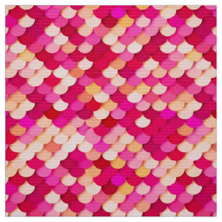 """""""Dragon Scales"""" - magenta, hot pink and peach Fabric"""