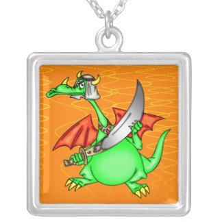 Dragon Sheik Square Pendant Necklace