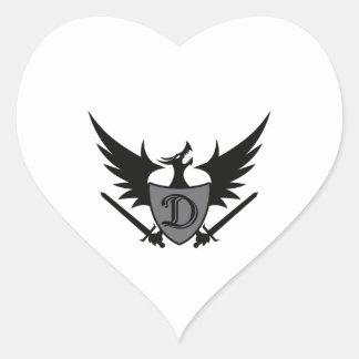 DRAGON SHEILD MASCOT HEART STICKER