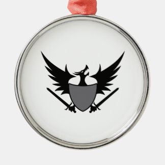 DRAGON SHEILD Silver-Colored ROUND DECORATION