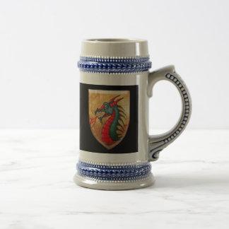 Dragon Shield on Black Beer Stein