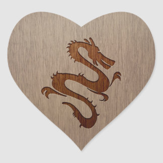 Dragon silhouette engraved on wood design heart sticker