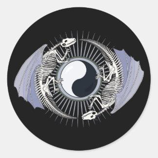Dragon Skeleton Yin-Yang Classic Round Sticker