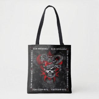 Dragon Skull w/Shadow Lilies Tote Bag