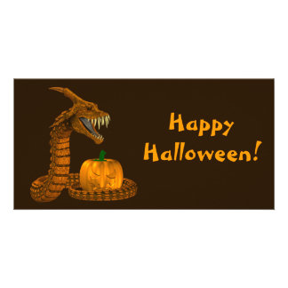 Dragon Snake Protecting A Pumpkin Personalized Photo Card
