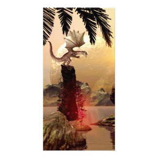 Dragon standing on a rock photo cards
