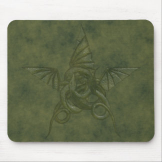 Dragon Star - Embossed Green Leather Image Mouse Mat