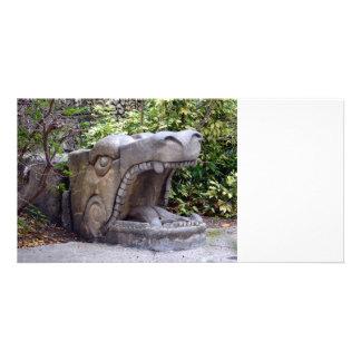 dragon statue mouth open stone custom photo card
