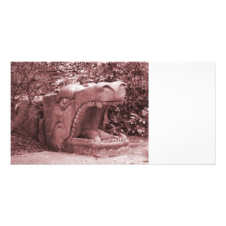 dragon statue mouth open stone faded reddish customized photo card