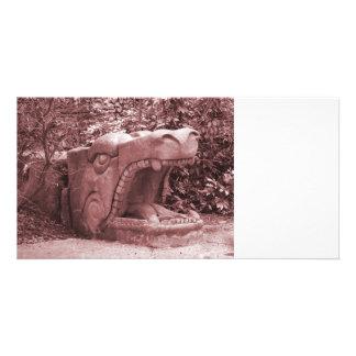 dragon statue mouth open stone faded reddish customized photo card