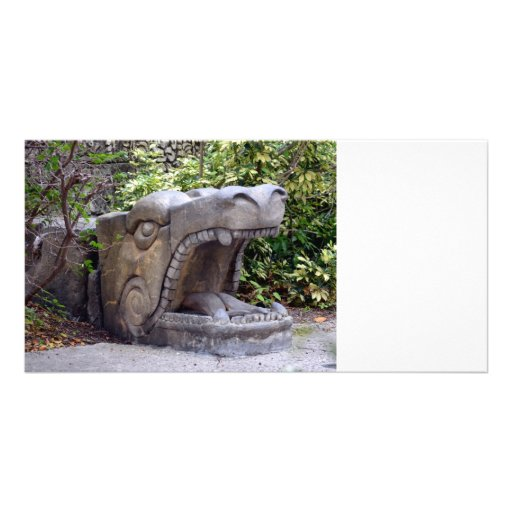 dragon statue mouth open stone picture card