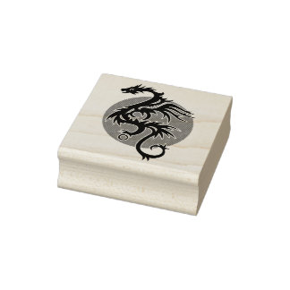 Dragon Sun right - black red white + your ideas Rubber Stamp