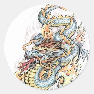 dragon tattoo design round sticker