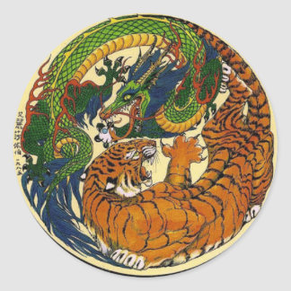 DRAGON TIGER CLASSIC ROUND STICKER