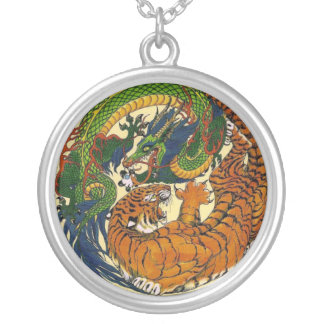 DRAGON TIGER IN STERLING SILVER SILVER PLATED NECKLACE