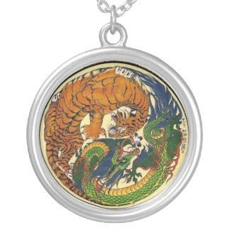 DRAGON TIGER SILVER PLATED NECKLACE