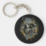 dragon/tiger/ying yang basic round button key ring